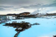 蓝色盐水湖温泉 库存图片