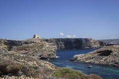 蓝色盐水湖马耳他 库存照片