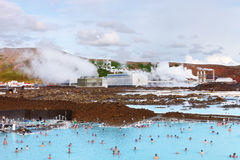 蓝色盐水湖,冰岛- 2014年8月02日 免版税库存图片
