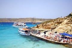 蓝色盐水湖,科米诺岛,马耳他 免版税库存图片
