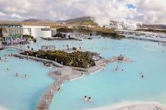 蓝色盐水湖-著名冰岛温泉中心,冰岛 免版税库存图片