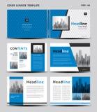 蓝色盖子设计和里面模板杂志的,广告,介绍,年终报告,书,传单,海报,编目,打印 皇族释放例证