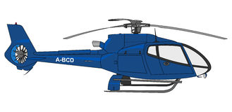 蓝色直升机例证 库存照片