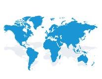 蓝色相似的世界地图空白 也corel凹道例证向量 免版税库存图片