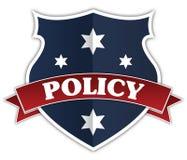 蓝色盾和红色丝带与政策发短信 库存照片