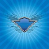 蓝色盾背景 库存例证