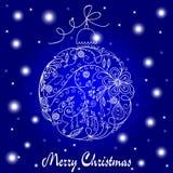 蓝色看板卡圣诞节白色 免版税库存图片