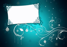 蓝色看板卡圣诞节问候 免版税库存照片