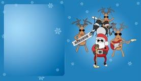 蓝色看板卡圣诞节 圣诞老人和驯鹿音乐家 免版税库存图片