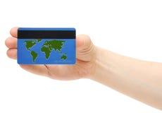 蓝色看板卡赊帐映射世界 库存照片