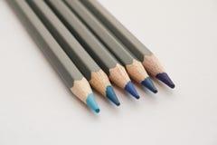 蓝色着色铅笔 库存照片