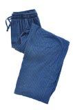 蓝色睡裤格子花呢披肩 库存图片