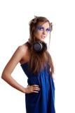 蓝色睫毛塑造构成妇女 免版税库存照片