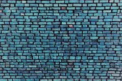 蓝色砖墙-抽象背景 免版税图库摄影