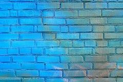 蓝色砖墙 免版税图库摄影
