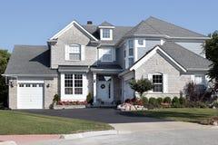 蓝色砖房子房屋板壁 库存照片