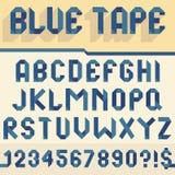 蓝色磁带字母表 免版税库存照片