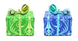 蓝色礼品绿色 库存图片