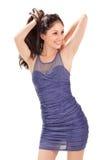 蓝色礼服夫人可爱的被打褶的星期日&# 库存照片