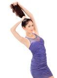 蓝色礼服头发可爱的使用的星期日妇&# 免版税库存图片