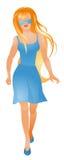 蓝色礼服妇女年轻人 免版税库存图片