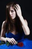 蓝色礼服妇女 免版税图库摄影