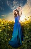 蓝色礼服摆在的美丽的少妇室外与多云剧烈的天空在背景中 库存图片