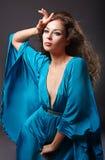 蓝色礼服方式纵向丝绸妇女 免版税库存照片