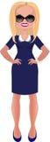 蓝色礼服的女商人 库存照片