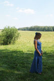 蓝色礼服的端庄的妇女 免版税库存照片