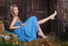 蓝色礼服的美丽的秋天女孩 免版税库存照片