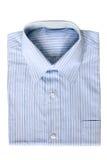 蓝色礼服细条纹布料的衬衣 免版税库存图片
