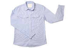 蓝色礼服细条纹布料的衬衣 图库摄影