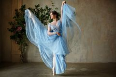 蓝色礼服跳舞的美丽的优美的女孩芭蕾舞女演员在点 免版税图库摄影