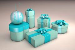 蓝色礼物盒和圣诞节玩具球的圣诞卡片3d例证 库存照片