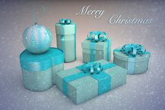蓝色礼物盒和圣诞节玩具球的圣诞卡片3d例证 免版税库存照片