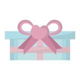 蓝色礼物盒桃红色弓心脏 库存图片