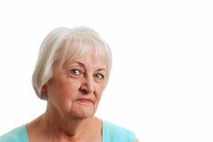 蓝色祖母轻的微笑的顶层 免版税库存照片