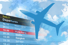 蓝色离去的平面旅行 免版税库存图片