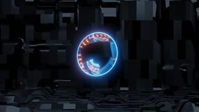 蓝色科学幻想小说眼睛有外籍人船背景和橙色光 皇族释放例证