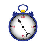 蓝色秒表被隔绝在白色 免版税库存照片