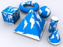 蓝色空白世界 向量例证
