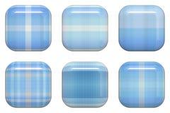 蓝色空白方形光滑的按钮。 免版税图库摄影