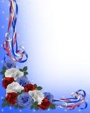 蓝色空白边界爱国红色的玫瑰 免版税库存图片