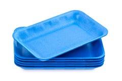 蓝色空的聚苯乙烯泡沫塑料盘 库存图片