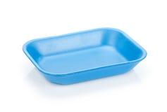 蓝色空的食物盘子 库存图片