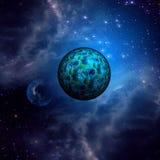 蓝色空间云彩和行星 免版税库存图片