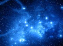蓝色空间星星云 免版税库存照片