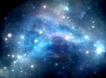 蓝色空间星星云 库存照片