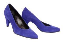 蓝色穿上鞋子绒面革 库存照片